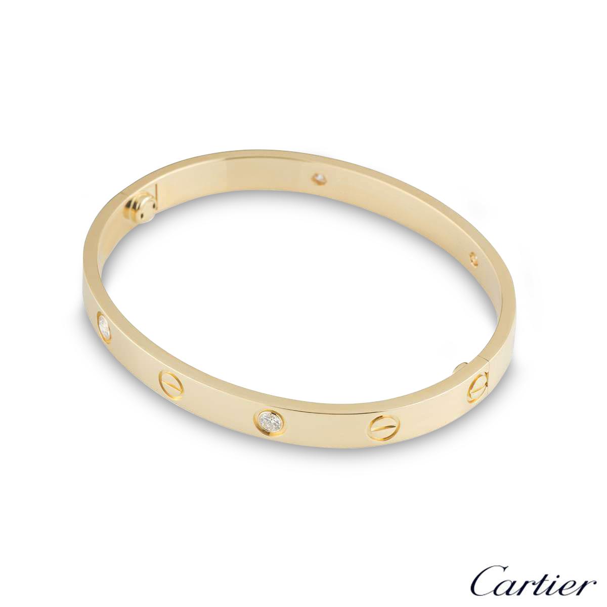 Cartier Yellow Gold Half Diamond Love Bracelet Size 19 B6035919